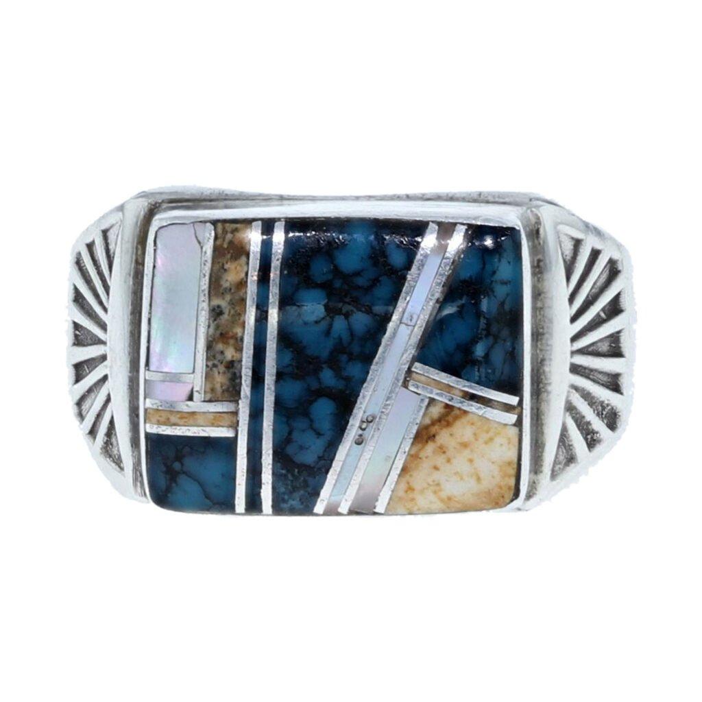 Multi Stone Inlay Men's Ring