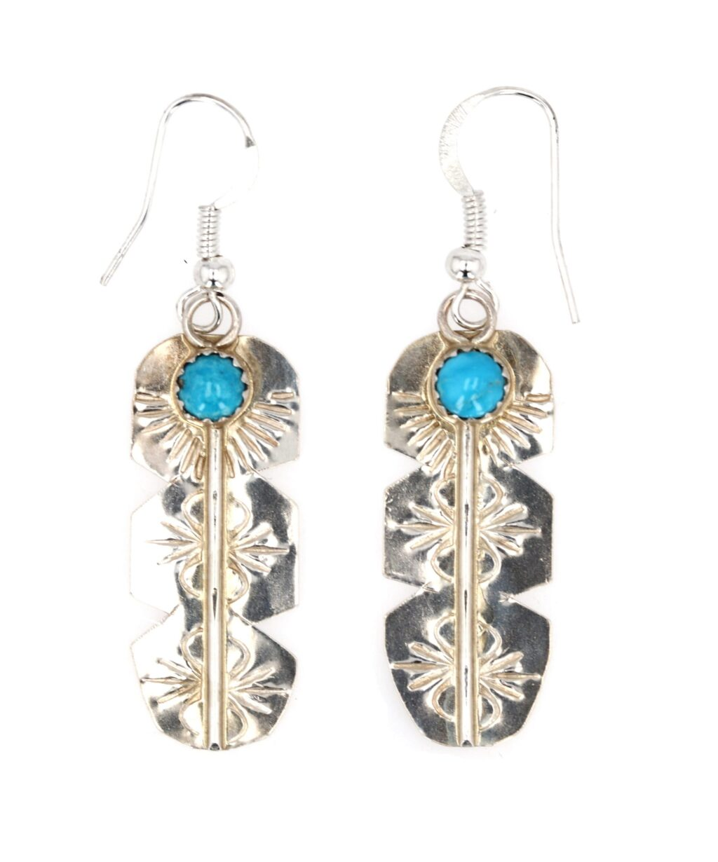 Sterling Silver Single Stone Feather Earrings