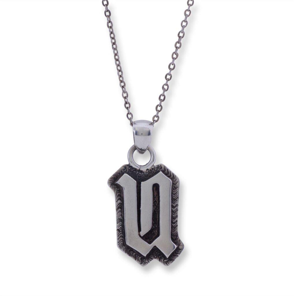 Sterling Silver Letter 'U' Overlay Necklace