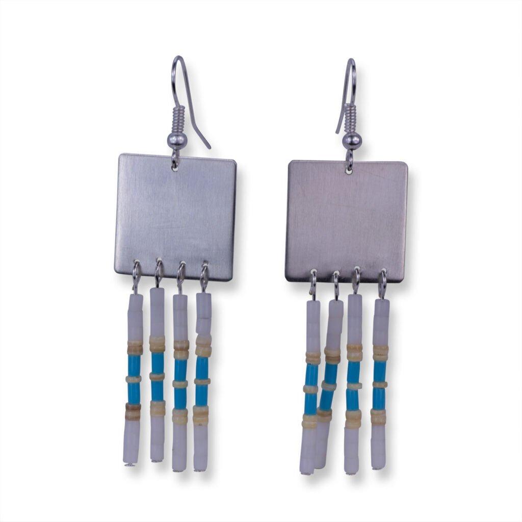 Beaded Sterling Silver Navajo Earrings