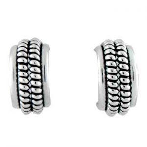 Navajo Double Twist Wire Silver Earrings