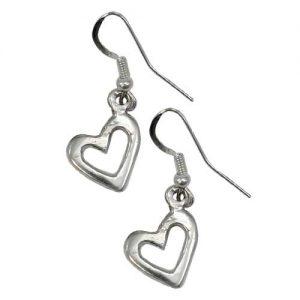 Navajo Plain Casted Silver Heart Earrings