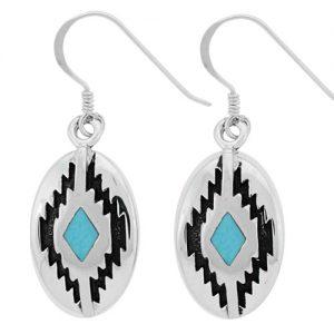 Small Oval Diamond Mountain Silver Inlay Earrings