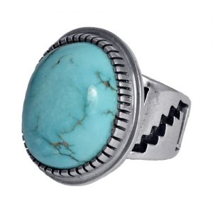 Round Stone Bisbee Turquoise Men's Ring