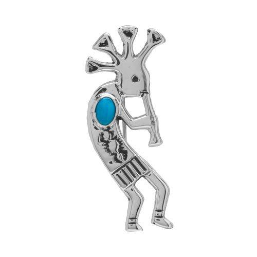 Silver Kokopelli Single Turquoise Stone Pin