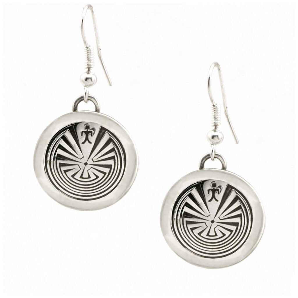Circle Man-In-The-Maze Silver Earrings