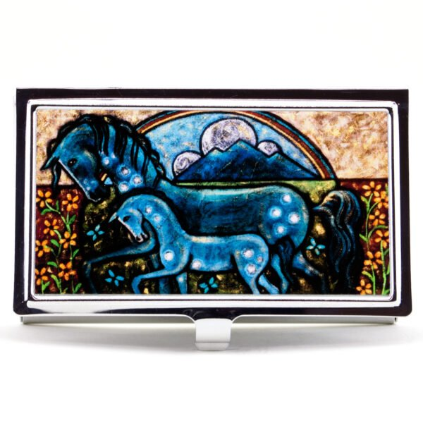 Native American Blue Horse Painting Business Card Case Holder