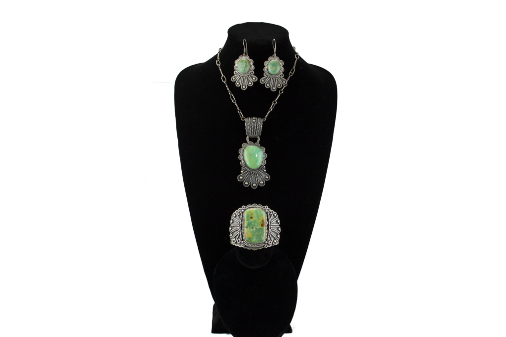 Twisted Sterling Silver Wire and Emerald Turquoise Set