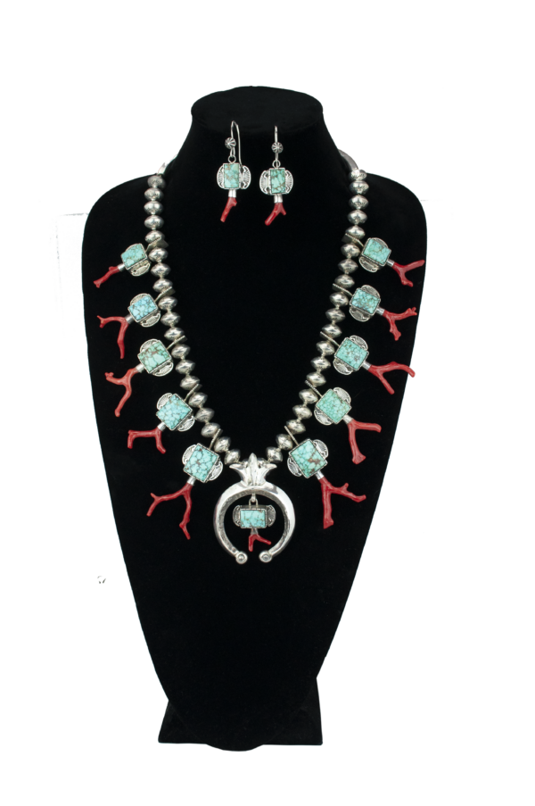 Red Coral Branch & Turquoise Cab Squash Blossom Set