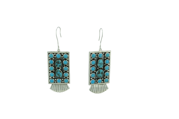 Angular Sterling Silver Sleeping Beauty Turquoise Set
