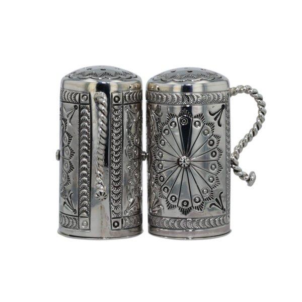 Charles Johnson Stamped Navajo Design Salt & Pepper Set