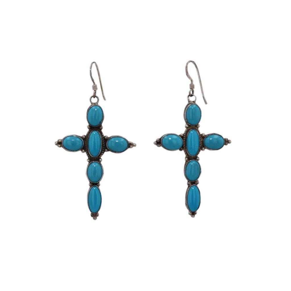 Sleeping Beauty Turquoise Cross Earrings