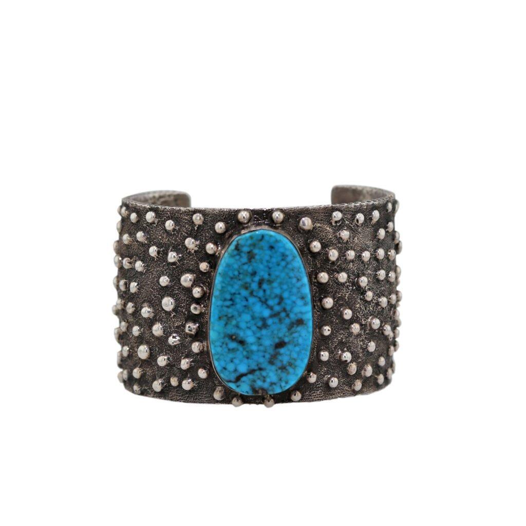 Navajo Tufa Casted Engraved Teardrops Bracelet