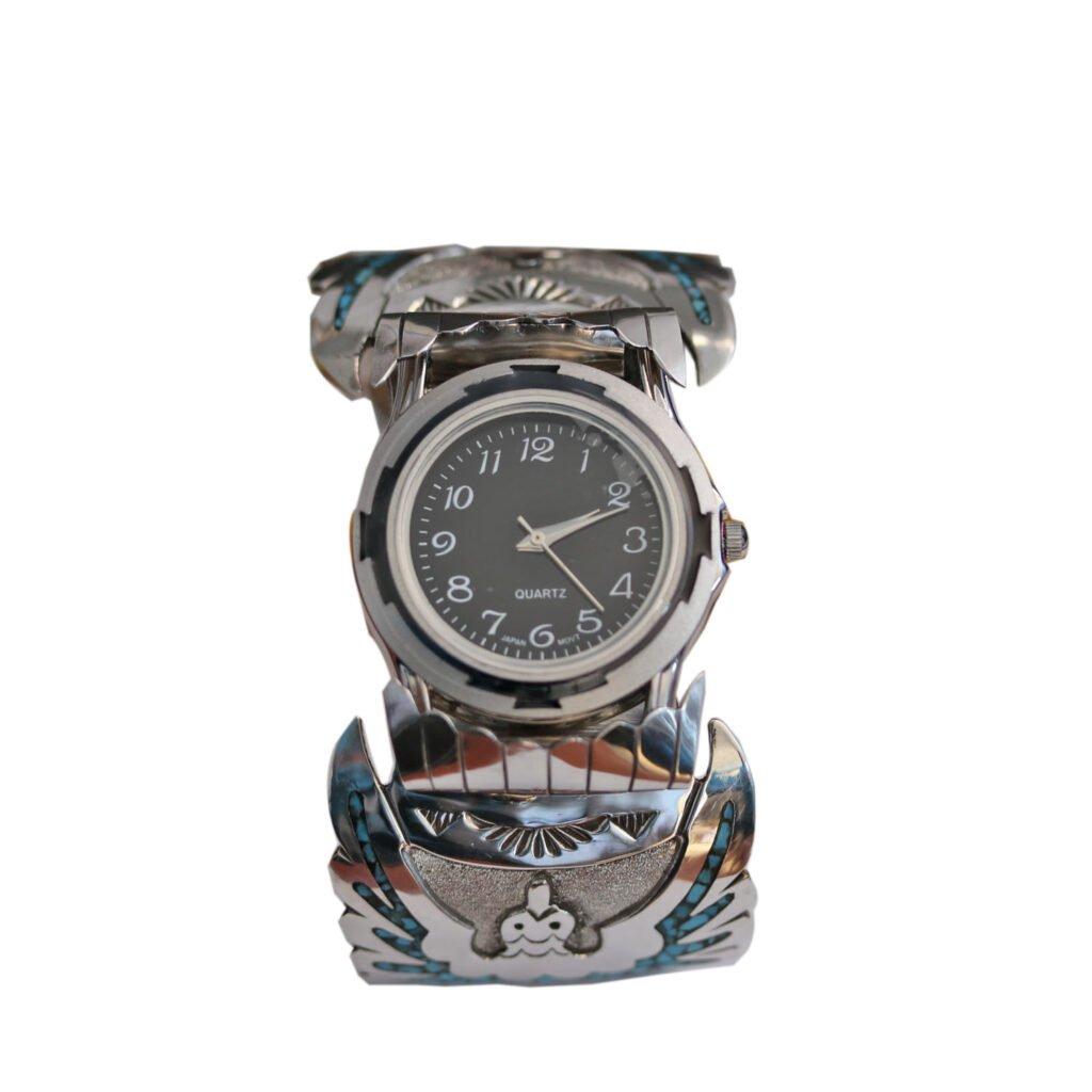 Men's Inlay Water Bird Chip Watch Bracelet