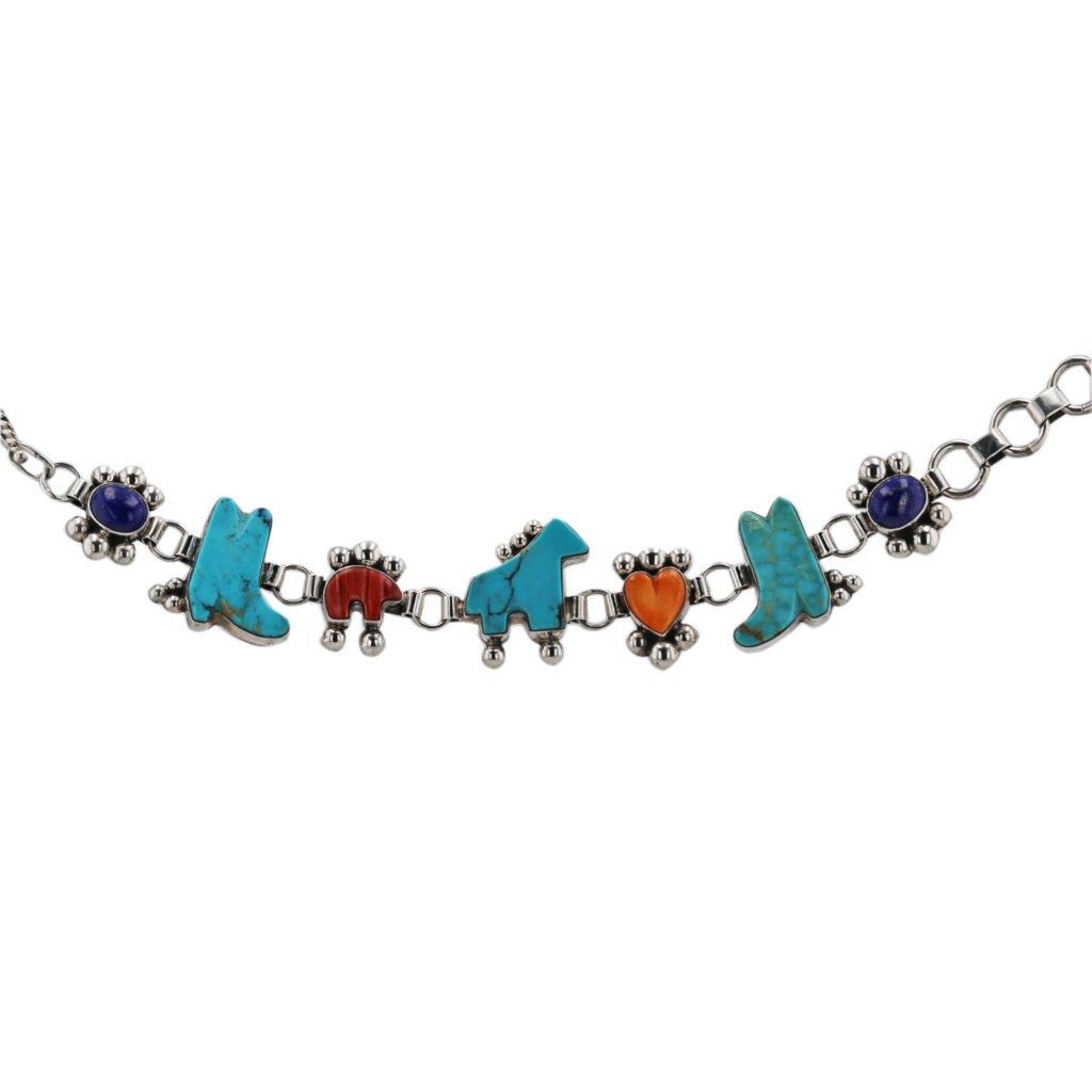 Navajo Multi Stone Link Chain Bracelet