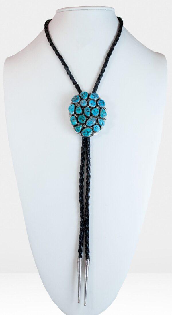 Navajo Turquoise18 Stone Cluster Bolo Tie