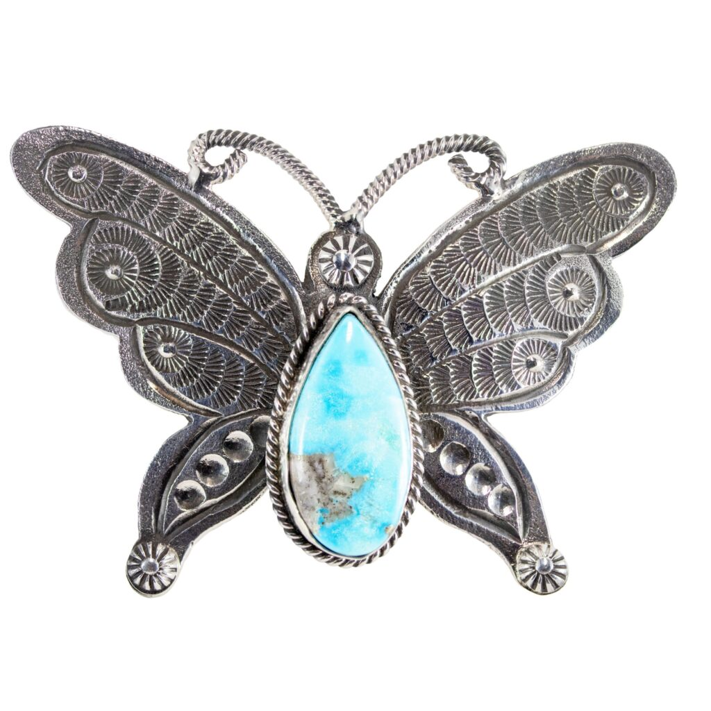 Sleeping Beauty Stone Butterfly Adjustable Ring