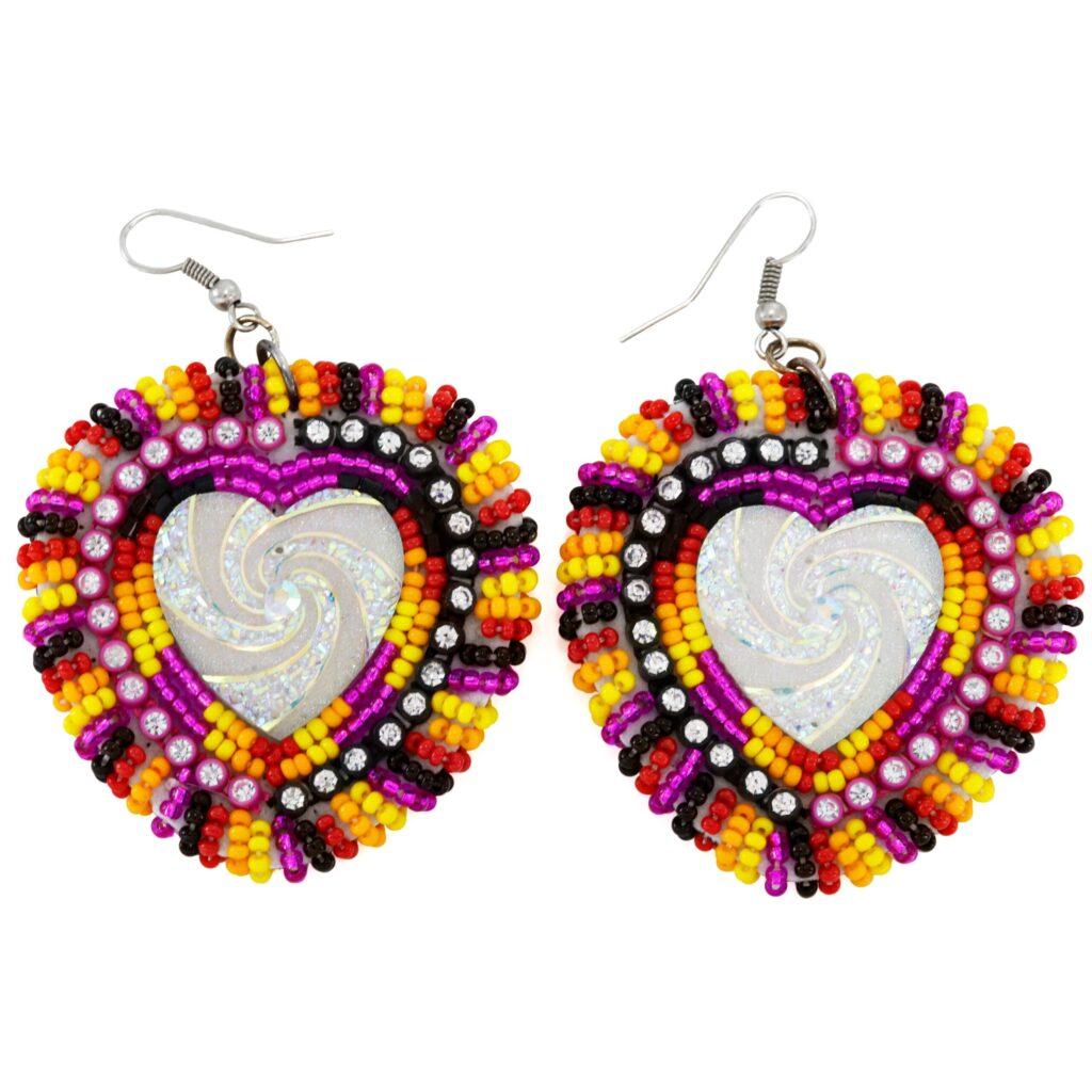 Big Beaded Heart Dangle Earrings