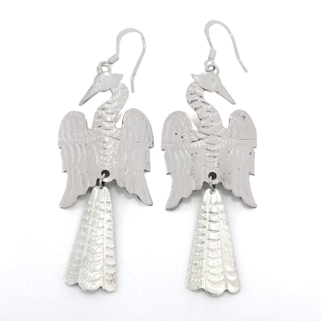 Two Piece Sterling Silver Water Bird Earrings