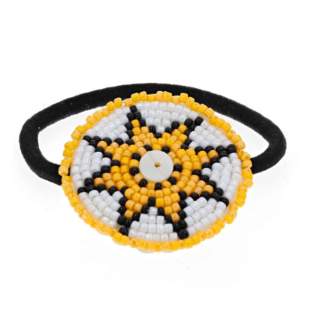 Yellow Star Beaded Hair Tie