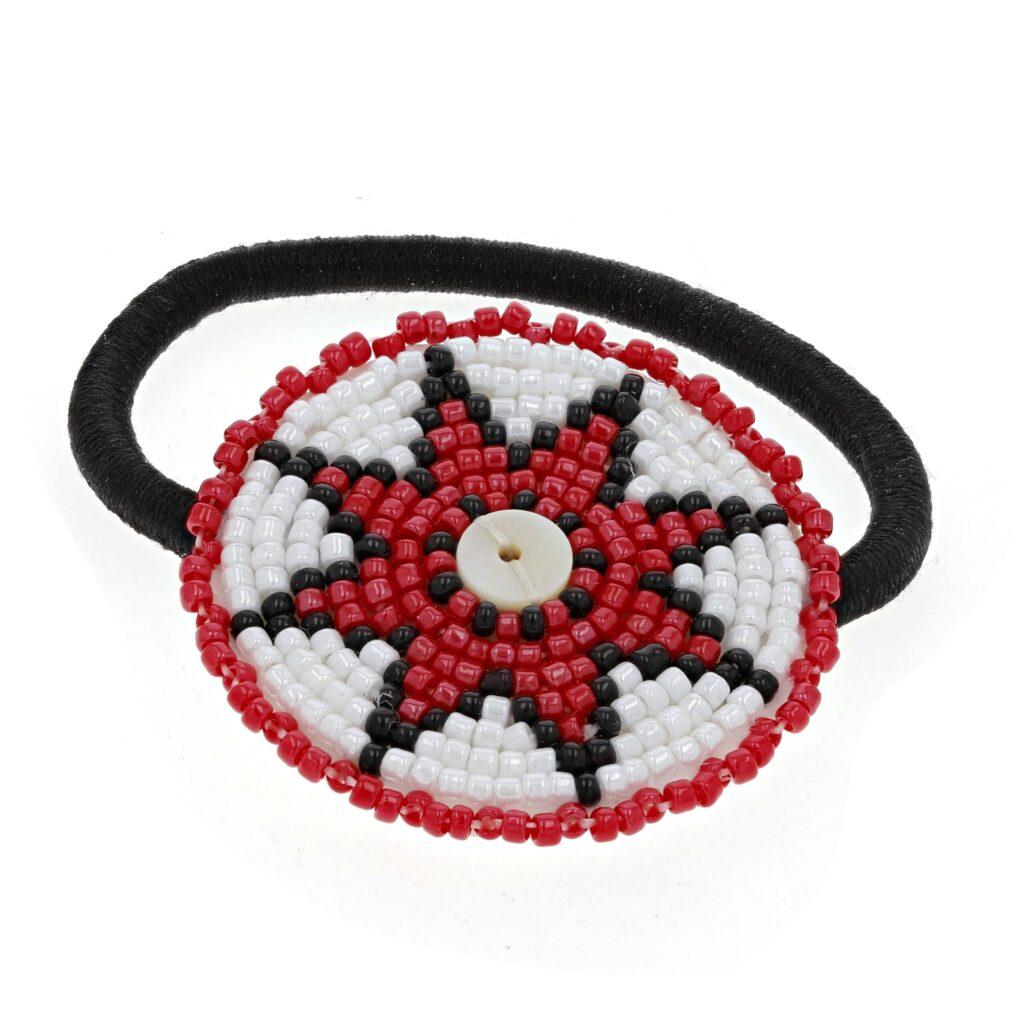 Red Star Beaded Hair Tie