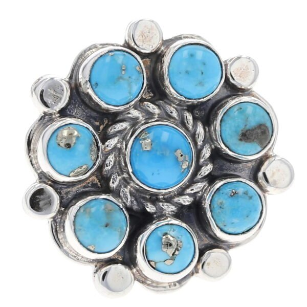 High Polish Eight Cluster Turquoise Stone Ring
