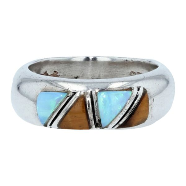 Straight Cobble Cut Silver Inlay Ring