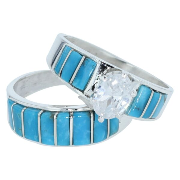 Navajo Turquoise Inlay Engagement Ring By Elizabeth Noble