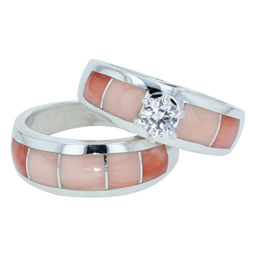 Sterling Silver Inlay Engagement Rings with Cubic Zirconia