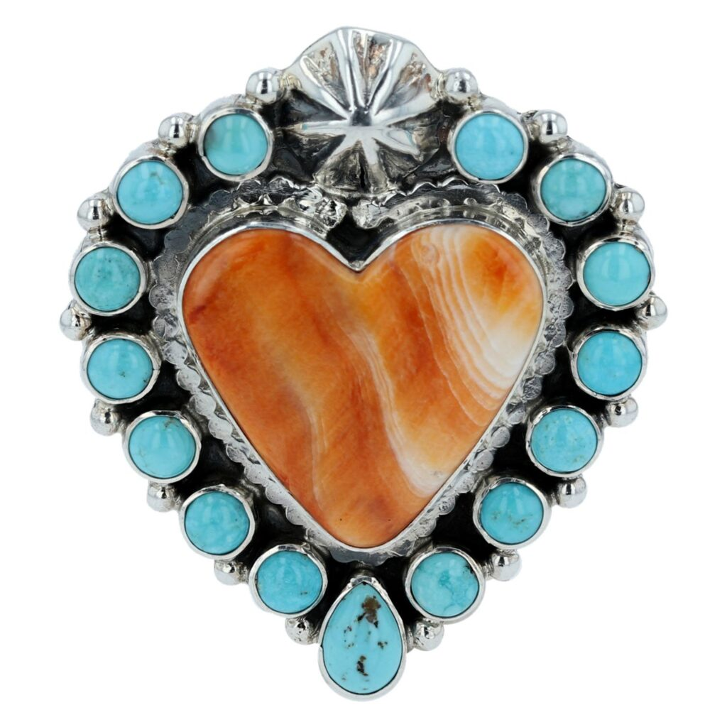 Orange Spiny Oyster Shell Heart Cluster Turquoise Ring