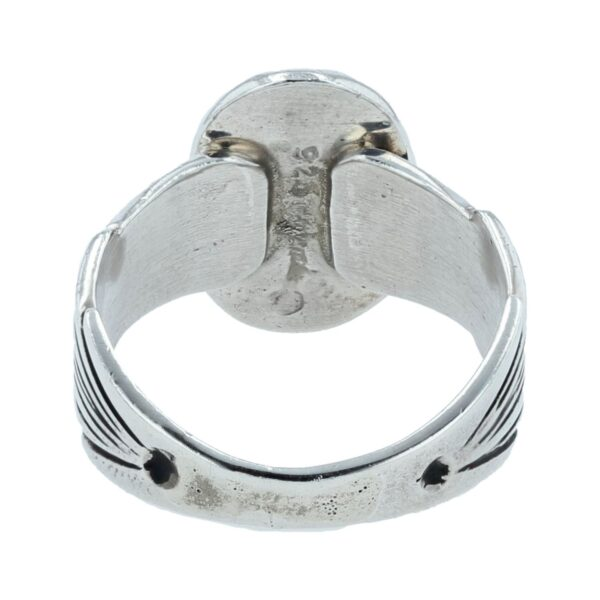 Small Oval Domed Silver Inlay Ring