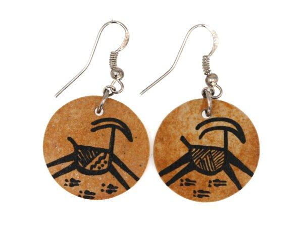 Iron Slate Rock Native American Antelope Earrings