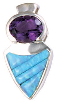 Cobble Cut Silver Inlay Pendant with Oval Gemstone Accent