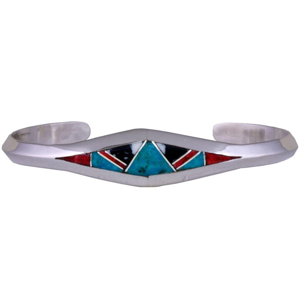 Sterling Silver Multi Stone Inlay Bracelet