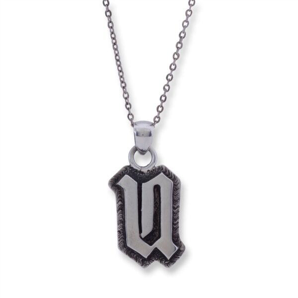 Sterling Silver Letter 'U' Overlay Necklace