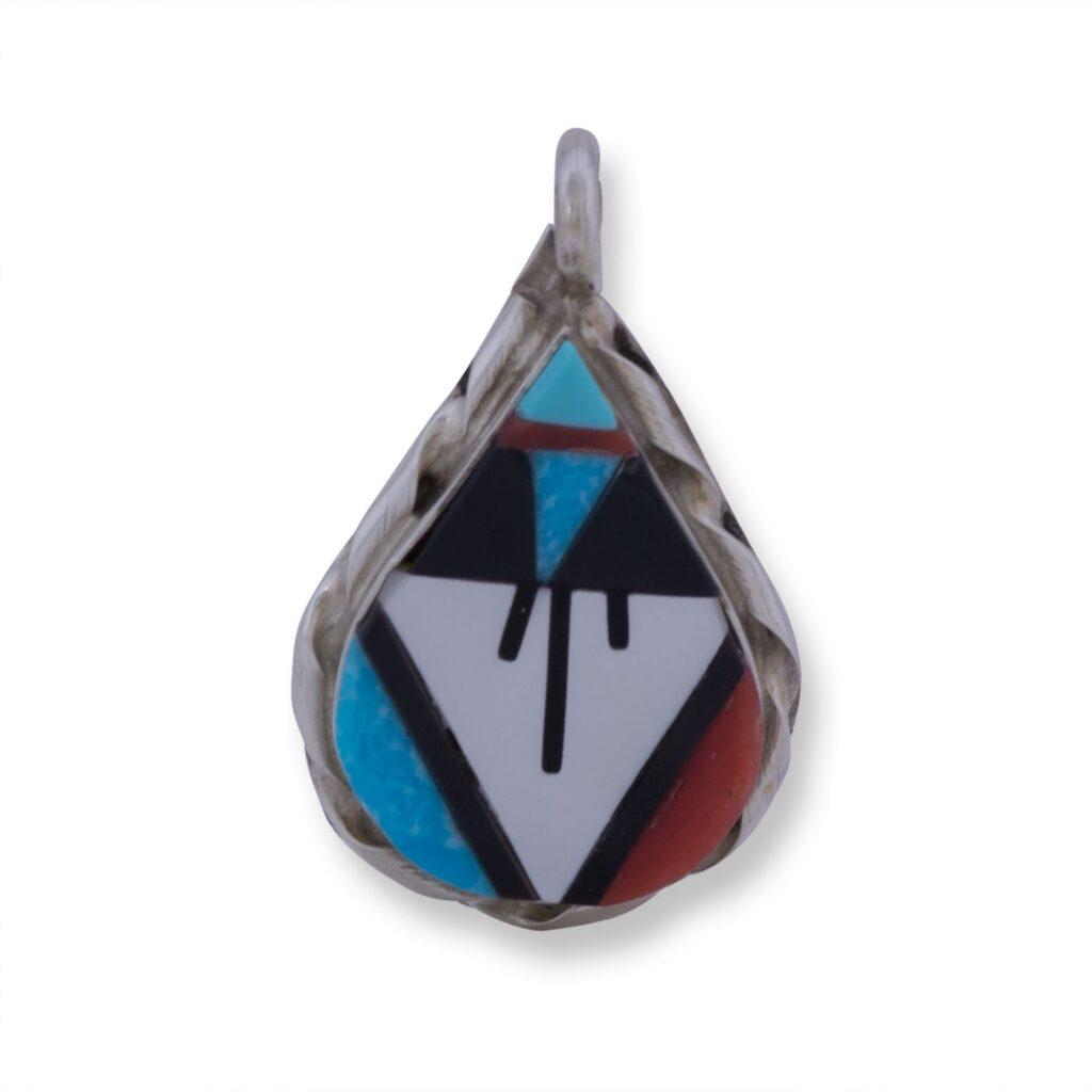 Tear Drop Inlay Multi Stone Pendant