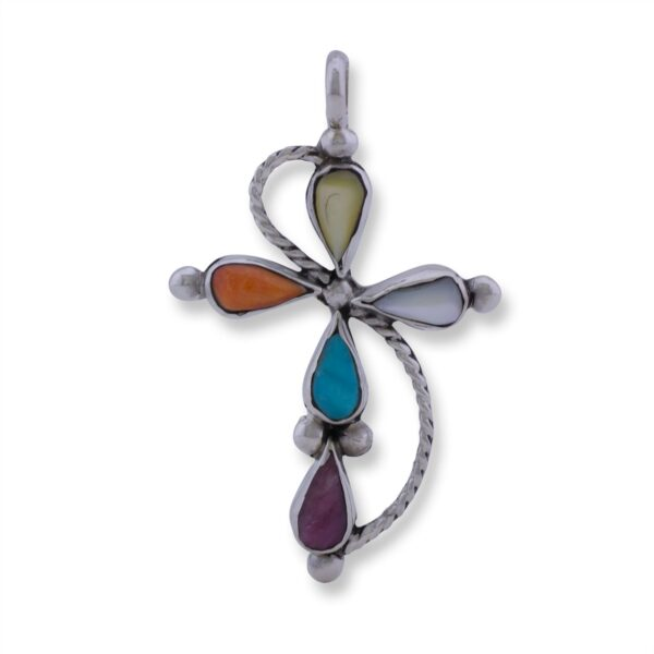 Multi-Stone Sterling Silver Cross Pendant