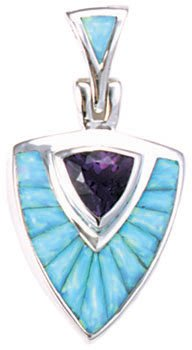 Trillion Cobble Cut Silver Inlay Pendant and Bail With Trillion Gemstone Accent
