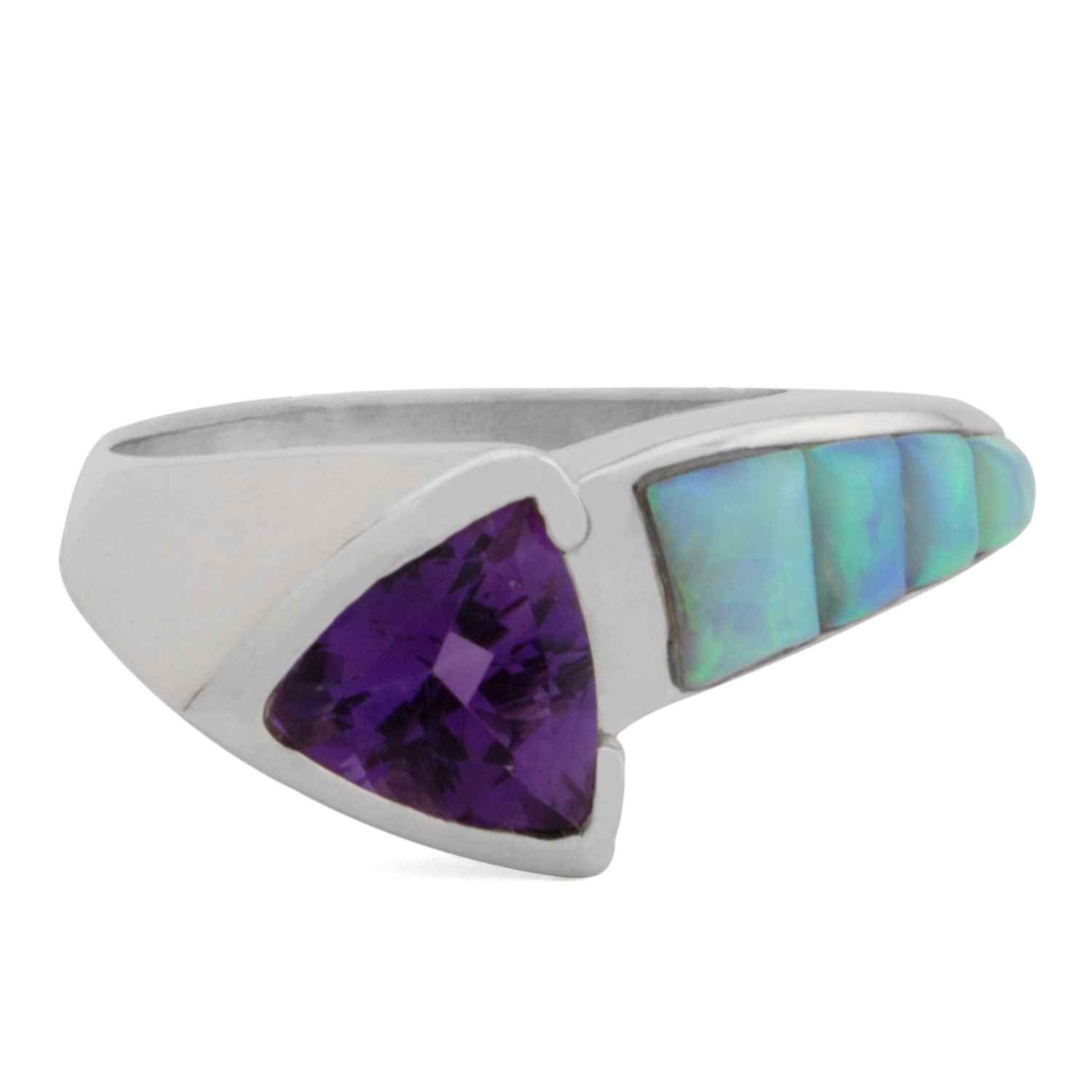 COBBLE CUT SILVER INLAY ARROW BAND RING WITH GEMSTONE (ON SALE)
