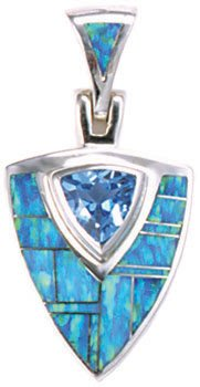 Trillion Silver Inlay Pendant and Bail With Trillion Gemstone Accent