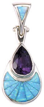 Pear Shaped Cobble Cut Silver Inlay Pendant With Pear Shaped Gemstone