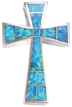Small Tapered Silver Inlay Cross Pendant