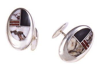 Oval Open Silver Inlay Cufflinks