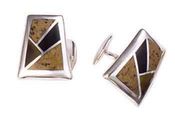 Faux Stained Glass Silver Inlay Cufflinks
