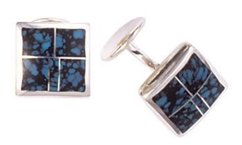 Square Silver Inlay Cufflinks