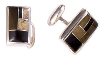 Rectangle Silver Inlay Cufflinks