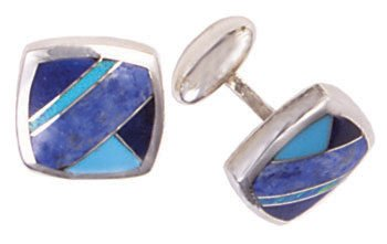 Square Cushion Silver Inlay Cufflinks