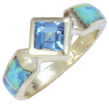 Silver Inlay Ring With Square Gemstone