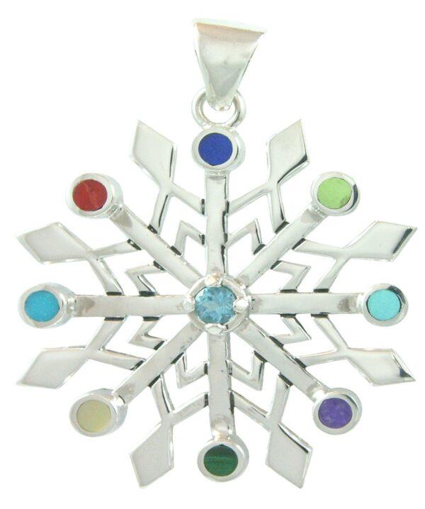 Stellar Snowflake Silver Pendant