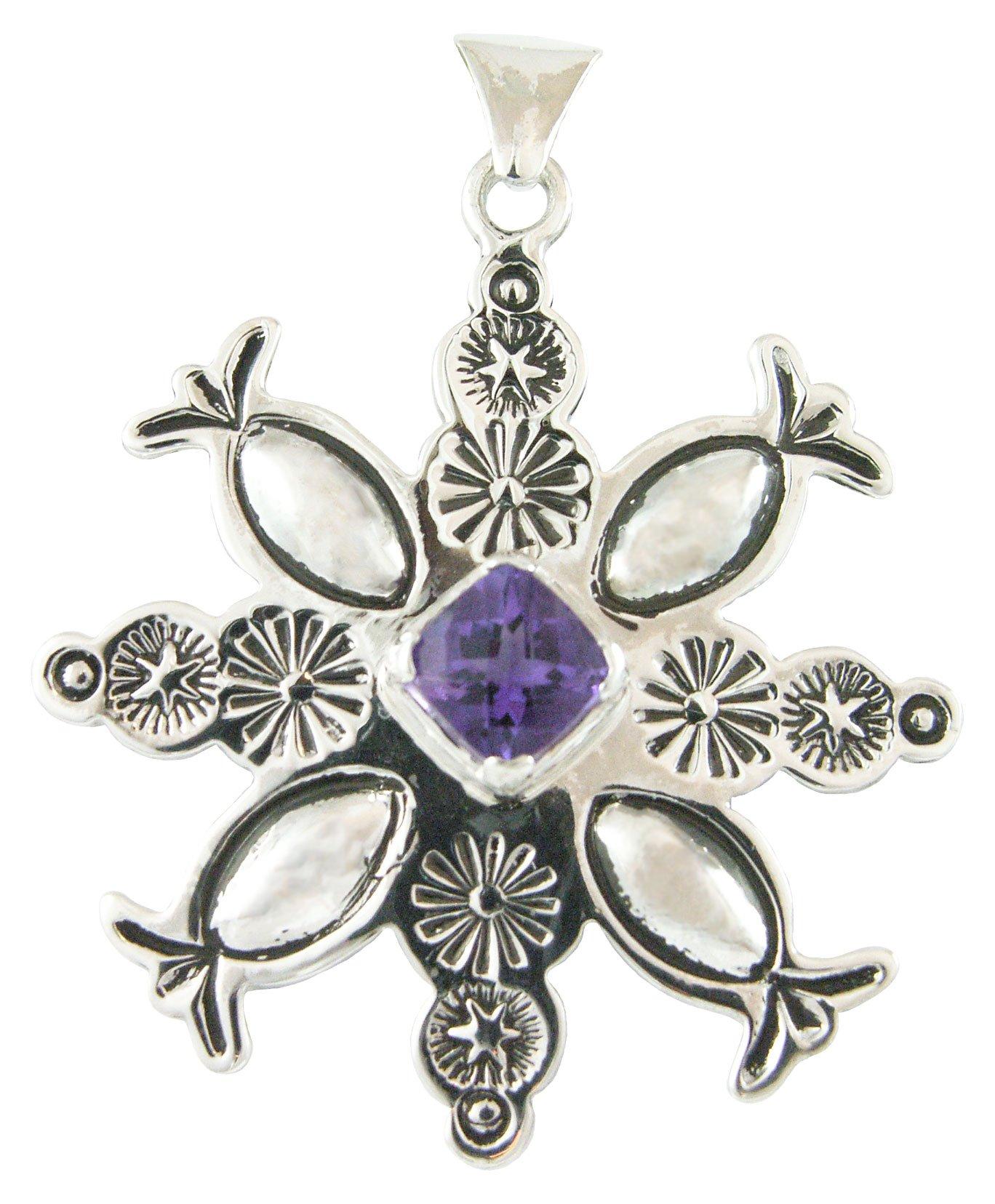 Classic Navajo Style Snowflake Silver Pendant